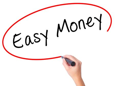 Women Hand writing Easy Money with black marker on visual screen. Isolated on white. Business, technology, internet concept. Stock Image Stock Photo