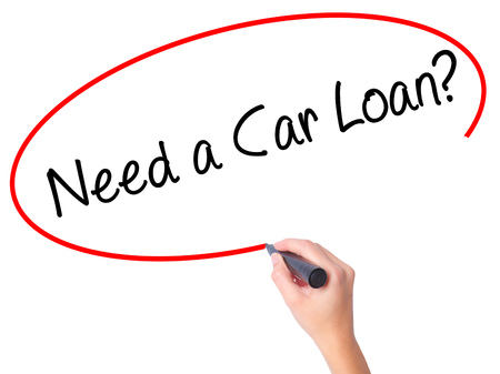 Women Hand writing Need a Car Loan? with black marker on visual screen. Isolated on white. Business, technology, internet concept. Stock Photo