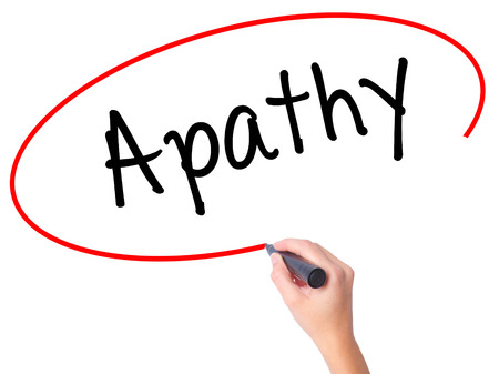 apathy: Women Hand writing Apathy  with black marker on visual screen. Isolated on white. Business, technology, internet concept. Stock Photo