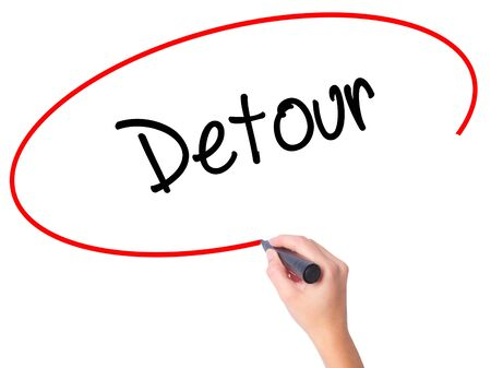Women Hand writing Detour  with black marker on visual screen. Isolated on white. Business,  internet concept. Stock Photo Imagens