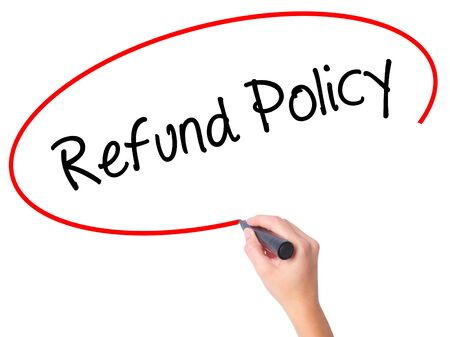 Women Hand writing Refund Policy with black marker on visual screen. Isolated on white. Business, technology, internet concept. Stock Photo