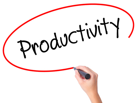 Women Hand writing  Productivity with black marker on visual screen. Isolated on white. Business, technology, internet concept. Stock Photo
