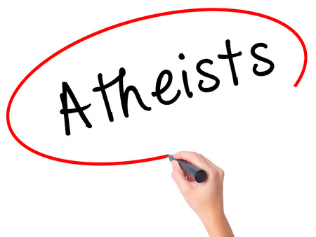 nonbelief: Women Hand writing Atheists with black marker on visual screen. Isolated on white. Business, technology, internet concept. Stock Image Stock Photo
