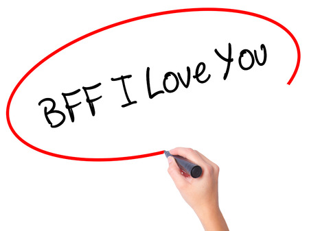 nota: Women Hand writing BFF I Love You with black marker on visual screen. Isolated on white. Business, technology, internet concept.