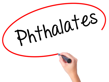 phthalates: Women Hand writing  Phthalates  with black marker on visual screen. Isolated on white. Business, technology, internet concept. Stock Photo