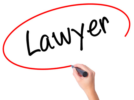 lawer: Women Hand writing Lawyer with black marker on visual screen. Isolated on white. Business, technology, internet concept. Stock Photo