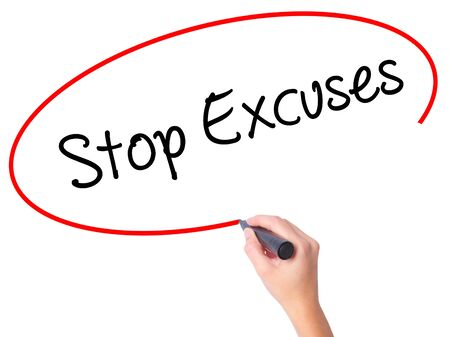 Women Hand writing  Stop Excuses  with black marker on visual screen. Isolated on white. Business, technology, internet concept. Stock Photo
