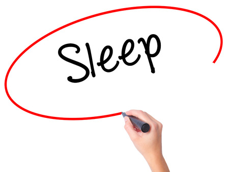 Women Hand writing Sleep with black marker on visual screen. Isolated on white. Business, technology, internet concept. Stock Photo Stock Photo