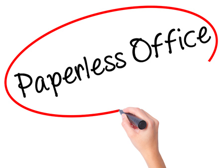 paperless: Women Hand writing Paperless Office  with black marker on visual screen. Isolated on white. Business, technology, internet concept. Stock Photo Stock Photo