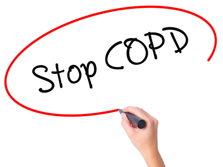 alveolos: Women Hand writing Stop COPD with black marker on visual screen. Isolated on white. Business, technology, internet concept. Stock Photo Foto de archivo