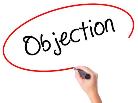 objection: Women Hand writing Objection with black marker on visual screen. Isolated on white. Business, technology, internet concept. Stock Photo