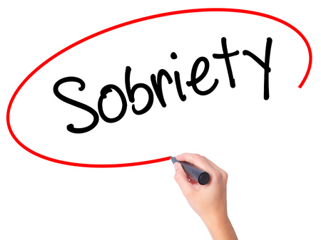 sobriety: Women Hand writing Sobriety with black marker on visual screen. Isolated on white. Business, technology, internet concept. Stock Photo Stock Photo