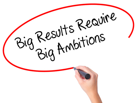 require: Women Hand writing Big Results Require Big Ambitions with black marker on visual screen. Isolated on white. Business, technology, internet concept. Stock Photo Stock Photo