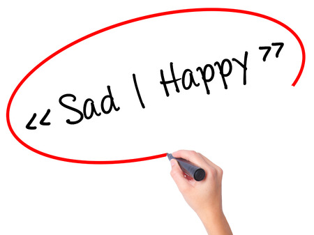 Women Hand writing Sad - Happy with black marker on visual screen. Isolated on white. Business, technology, internet concept. Stock Photo Stock Photo