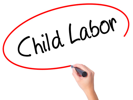 slave labor: Women Hand writing Child Labor with black marker on visual screen. Isolated on white. Business, technology, internet concept. Stock Photo Stock Photo
