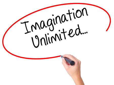 unlimited: Women Hand writing Imagination Unlimited... with black marker on visual screen. Isolated on white. Business, technology, internet concept. Stock Photo Stock Photo