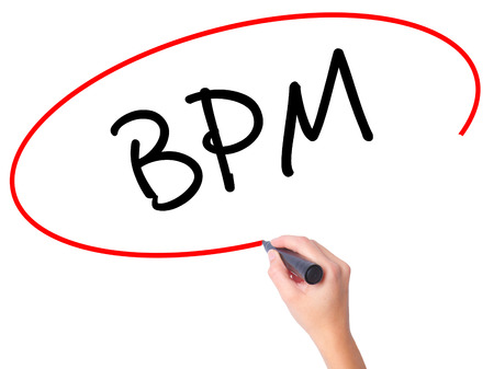 bpm: Women Hand writing  BPM (Business Process Management) with black marker on visual screen. Isolated on white. Business, technology, internet concept. Stock Photo