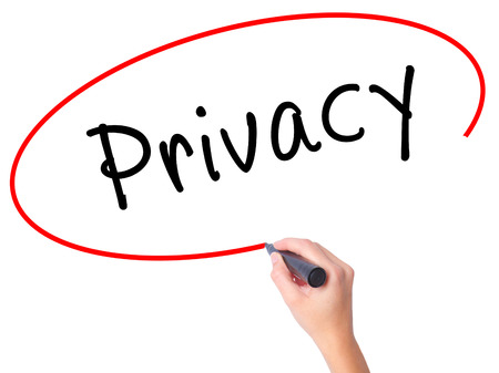 Women Hand writing Privacy with black marker on visual screen. Isolated on white. Business, technology, internet concept. Stock Image Stock Photo