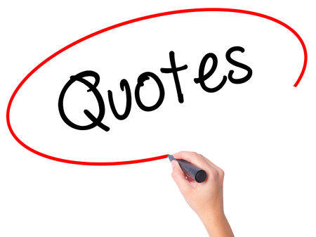Women Hand writing Quotes  with black marker on visual screen. Isolated on white. Business, technology, internet concept. Stock Photo Stock Photo