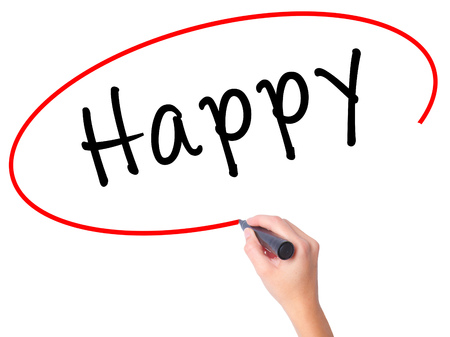 Women Hand writing Happy black marker on visual screen. Isolated on white. Business, technology, internet concept. Stock Image Stock Photo