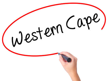 writing western: Women Hand writing Western Cape with black marker on visual screen. Isolated on white. Business, technology, internet concept. Stock Photo