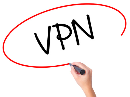 vpn: Women Hand writing VPN (Virtual Private Network) with black marker on visual screen. Isolated on white. Business, technology, internet concept. Stock Photo