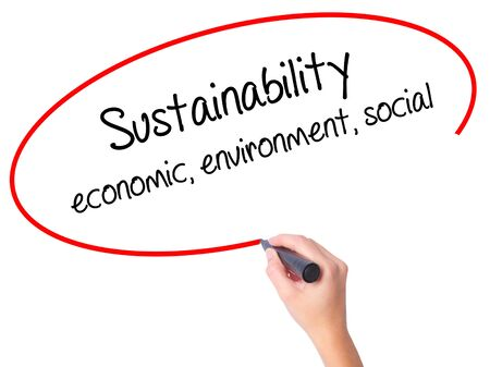 economic theory: Women Hand writing Sustainability  economic, environment, social with black marker on visual screen. Isolated on white. Business, technology, internet concept.