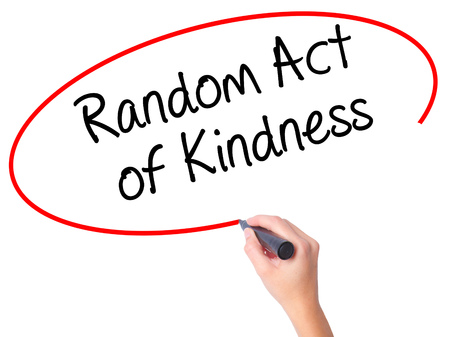 Women Hand writing Random Act of Kindness with black marker on visual screen. Isolated on white. Business, technology, internet concept. Stock Photo Stock Photo