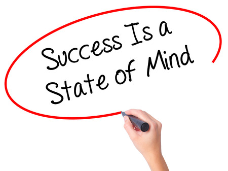 aging brain: Women Hand writing Success Is a State of Mind with black marker on visual screen. Isolated on white. Business, technology, internet concept. Stock Photo