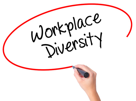 competitividad: Women Hand writing Workplace Diversity  with black marker on visual screen. Isolated on white. Business, technology, internet concept. Stock Photo