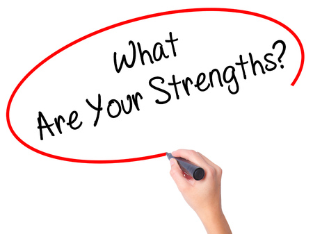 firmness: Women Hand writing What Are Your Strengths? with black marker on visual screen. Isolated on white. Business, technology, internet concept. Stock Photo
