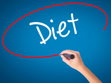 Women Hand writing Diet (in Portuguese)  with black marker on visual screen. Isolated on blue. Business, technology, internet concept. Stock Photo