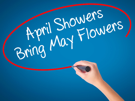 Women Hand writing April Showers Bring May Flowers with black marker on visual screen. Isolated on blue. Business, technology, internet concept. Stock Photo Stock Photo