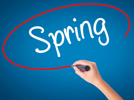 springbreak: Women Hand writing Spring with black marker on visual screen. Isolated on blue. Business, technology, internet concept. Stock Photo