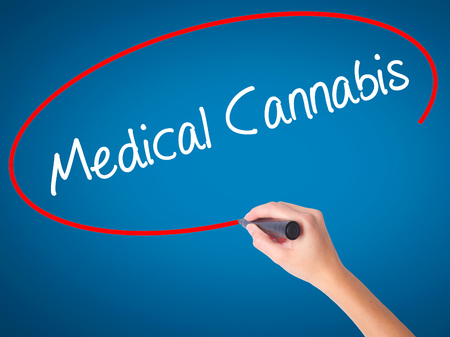 legislators: Women Hand writing Medical Cannabis with black marker on visual screen. Isolated on blue. Business, technology, internet concept. Stock Photo