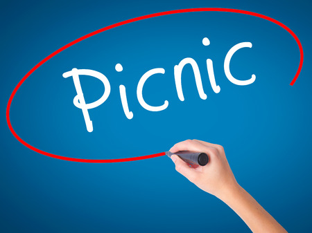 picknick: Women Hand writing Picnic with black marker on visual screen. Isolated on blue. Business, technology, internet concept. Stock Photo