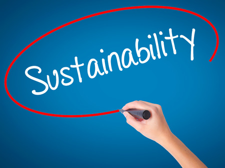 Women Hand writing Sustainability  with black marker on visual screen. Isolated on blue. Business, technology, internet concept. Stock Photo