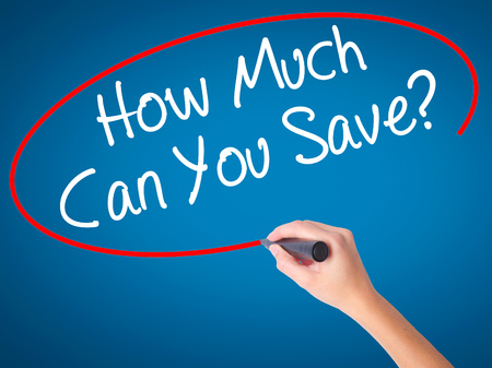 mortgaging: Women Hand writing How Much Can You Save? with black marker on visual screen. Isolated on blue. Business, technology, internet concept. Stock Photo