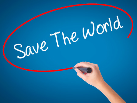 paperless: Women Hand writing Save The World with black marker on visual screen. Isolated on blue. Business, technology, internet concept. Stock  Photo
