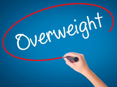 Women Hand writing Overweight  with black marker on visual screen. Isolated on blue. Business, technology, internet concept. Stock Photo