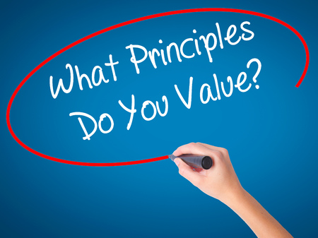 principles: Man Hand writing What Principles Do You Value? with black marker on visual screen. Isolated on white. Business, technology, internet concept. Stock Photo