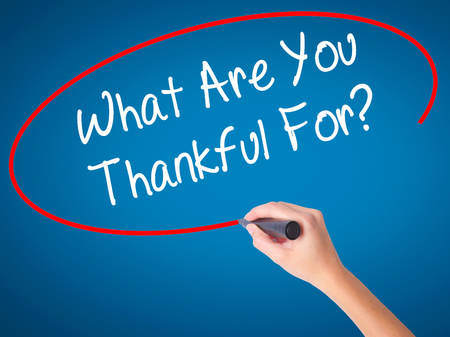 Man Hand writing What Are You Thankful For? with black marker on visual screen. Isolated on white. Business, technology, internet concept. Stock Photo