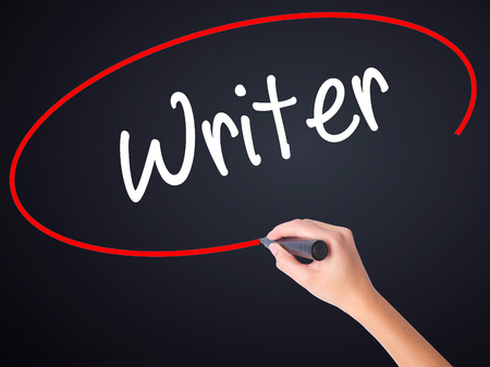 Woman Hand Writing Writer on blank transparent board with a marker isolated over black background. Stock Photo