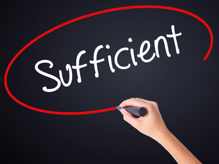 insufficient: Woman Hand Writing Sufficient on blank transparent board with a marker isolated over black background. Stock Photo Stock Photo