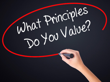 principles: Woman Hand Writing What Principles Do You Value? on blank transparent board with a marker isolated over black background. Business concept. Stock Photo