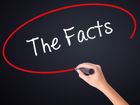 fib: Woman Hand Writing The Facts  on blank transparent board with a marker isolated over black background. Business concept. Stock Photo Stock Photo