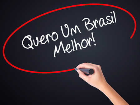 protestors: Woman Hand Writing Quero Um Brasil Melhor!  ( I want a Better Brazil in Portuguese)on blank transparent board with a marker isolated over black background. Business concept. Stock Photo