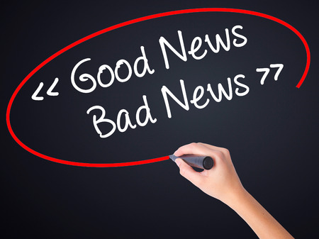 stock news: Woman Hand Writing Good News - Bad News on blank transparent board with a marker isolated over black background. Stock Photo