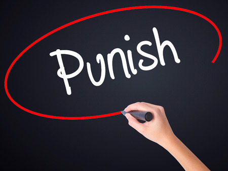 enforcing: Woman Hand Writing Punish on blank transparent board with a marker isolated over black background. Stock Photo Stock Photo