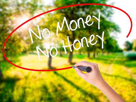 Woman Hand Writing No Money No Honey on blank transparent board with a marker isolated over green field background. Stock Photo
